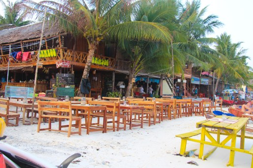 Pubs and restaurants along the beach, Koh Rong