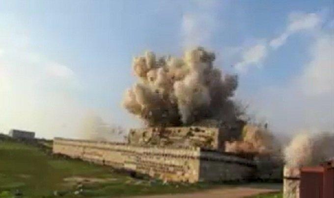 Al Qaeda FSA Wahhabi terrorists blow up historical shrine north of Syria