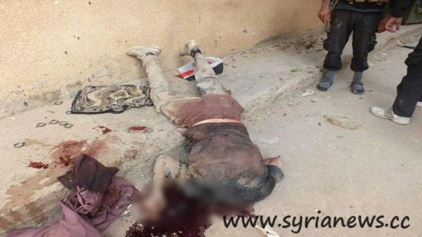 The first victim: You can see the Syrian flag in the background of the picture.
