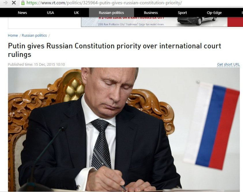 Putin signing law preserving Russian constitutional rights