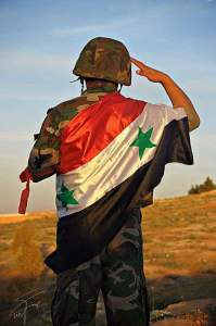 Syrian soldier wrapped in flag