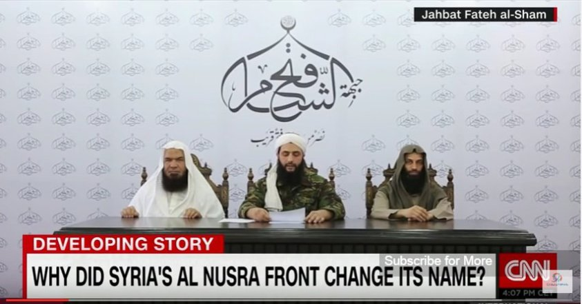 Jolani in 2016 with foreign terrorists explaining name change for alqaeda