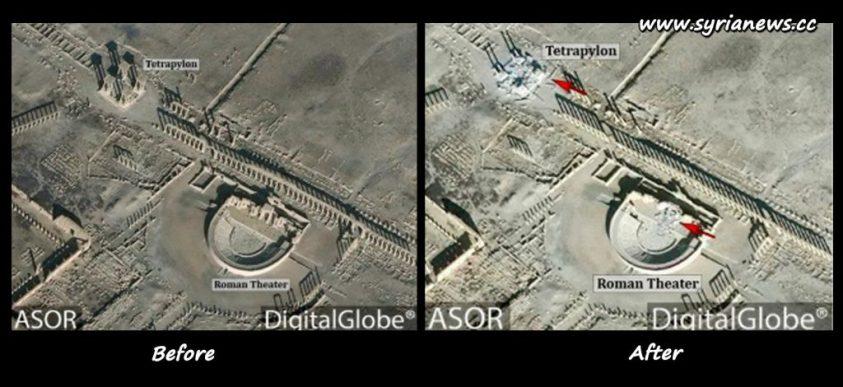 image-Syria Palmyra Tadmor Heritage Destroyed Tetrapylon and Roman Theater