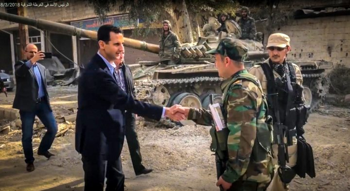 image-Syria's President Assad meeting with troops liberating Ghouta from terrorists.