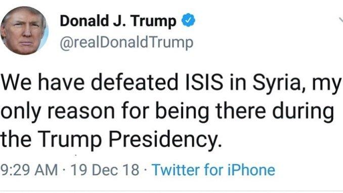 real trump tweet withdrawal of US troops from Syria