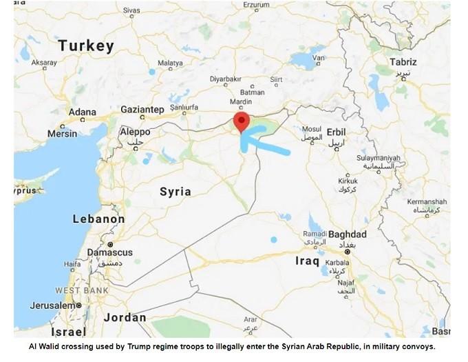 Biden regime criminals brought massive weapons into Syria, via the al Walid illegal crossing.