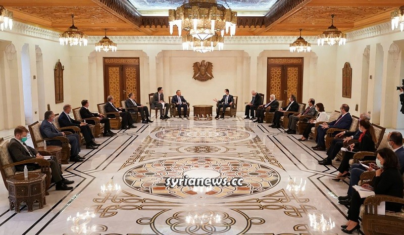 Russian Delegation Meeting President Bashar Assad