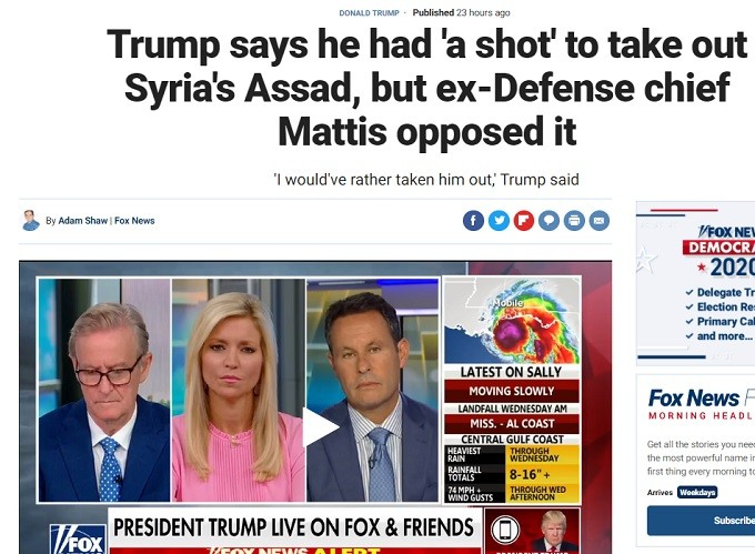 Trump wanted to kill President Assad but the Mad Dog Mattis talked him out.