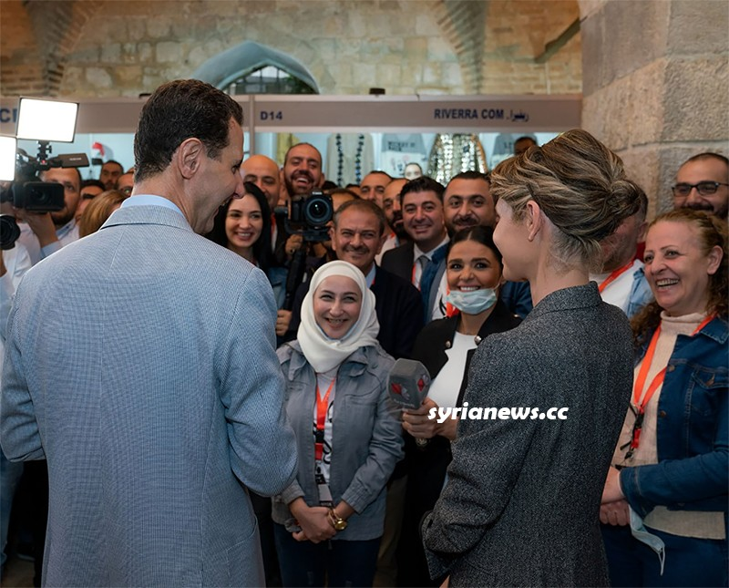 President Bashar Assad and First Lady - Damascus Exhibition