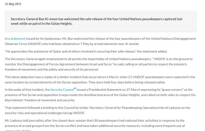 UN former Secretary-General Ban Ki-Moon thanks the abductors of the UNDOF in the Golan