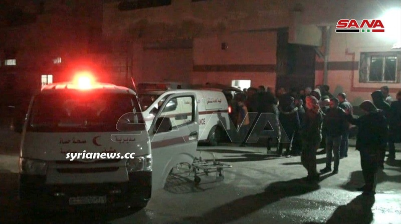 victims of the NATO isis terrorist attack on buses on Salamiyah - Ithriyah road in Hama rushed to hospital