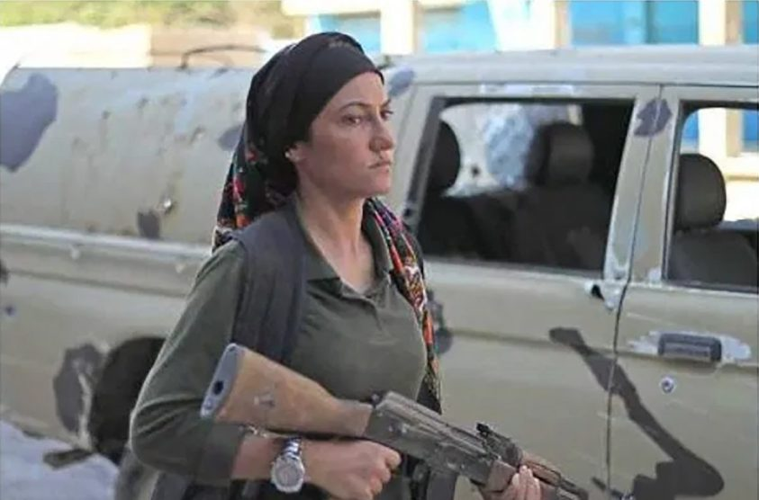 Kurdish sdf ypg woman fighter