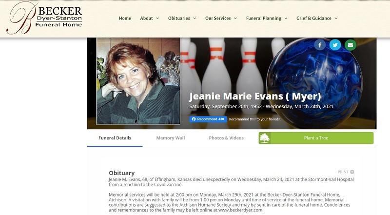 Jeanie Evans became VAERS data.