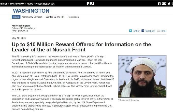 FBI put $10 million bounty on the head of Jolani