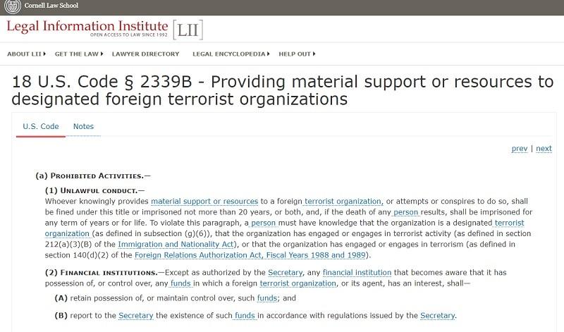 Is remarketing terrorist Jolani providing material support?