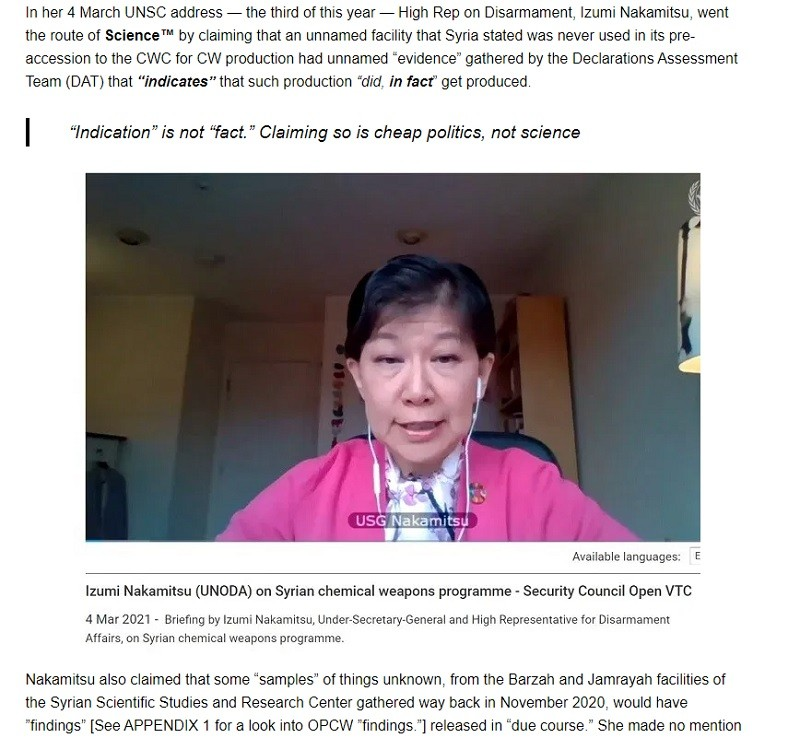 Nakamitsu repeats the same lies toe the UNSC monthly Syria chemical hoax meeting.