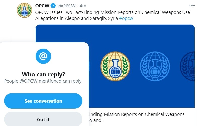 Chemical weapons watchdog OPCW prohibits discourse