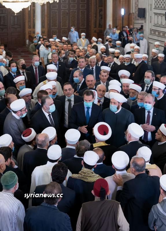 President Bashar Assad performs Eid Prayers in Grand Omayyad Mosque in Damascus