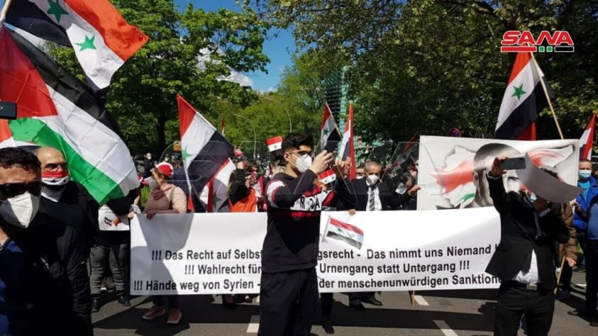 Syrians in Germany protesting against the ban on Syrian Presidential Election