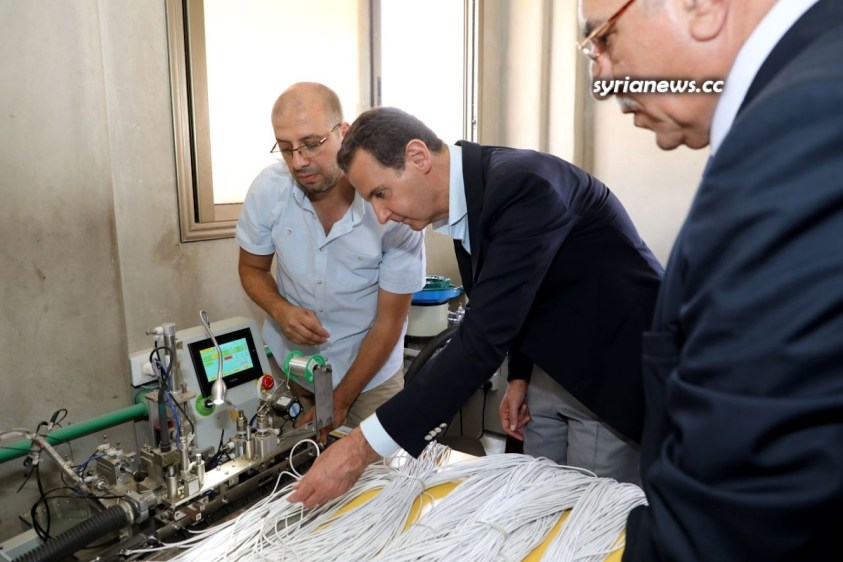 Syrian President Assad visits Adra Industrial City 09 June 2021