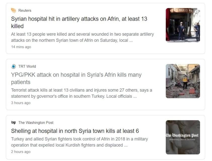 NATO media reporting on Afrin bombings