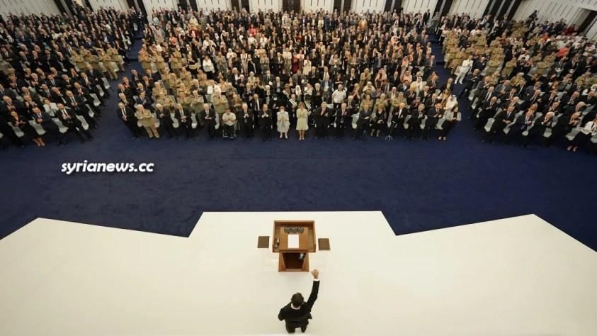 Syrian President Bashar Assad taking the oath