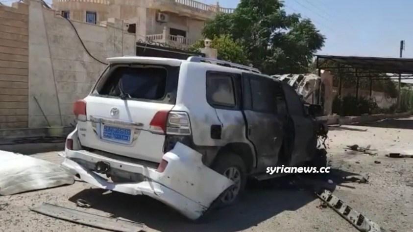NATO Turkish drone bombs a NATO Kurdish SDF vehicle in Heemo near Qamishli in Hasakah Syria