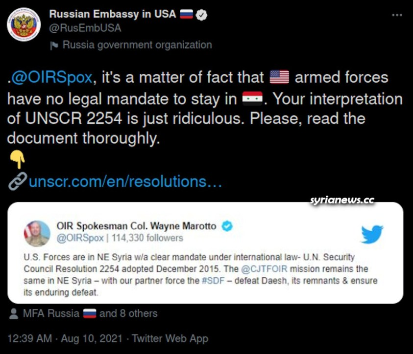 Russian Embassy in Washington Reminds US Spokesperson of UNSC Resolution 2254 - Syrian oil and wheat