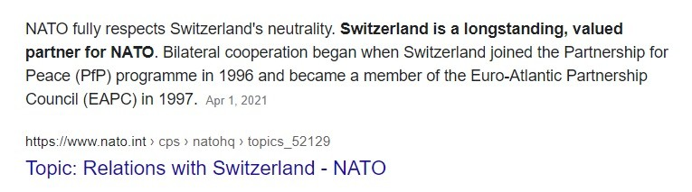 Swiss neutrality respected by NATO