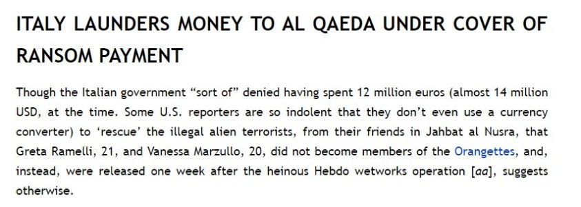 Italy now worried about Taliban laundered millions to al qaeda in Syria