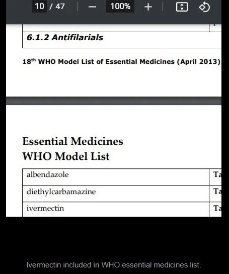 Ivermectin is among WHO's most essential medications list.