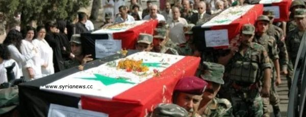 Archive of SAA mass funeral for 83 soldiers accidentally killed by Obama regime to protect terrorists in al Tharda