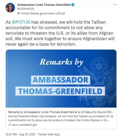 US ambassador to UN warns Taliban
