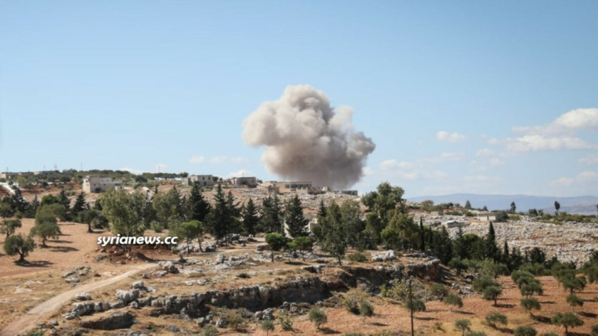 Syrian and Russian Air Forces bomb Al Qaeda targets in Idlib countryside
