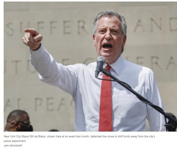 After releasing 100s of criminals from jail, de Blasio called for culling NYPD's budget, even while engaged in Bloomberg's racist 'Stop & Frisk.'