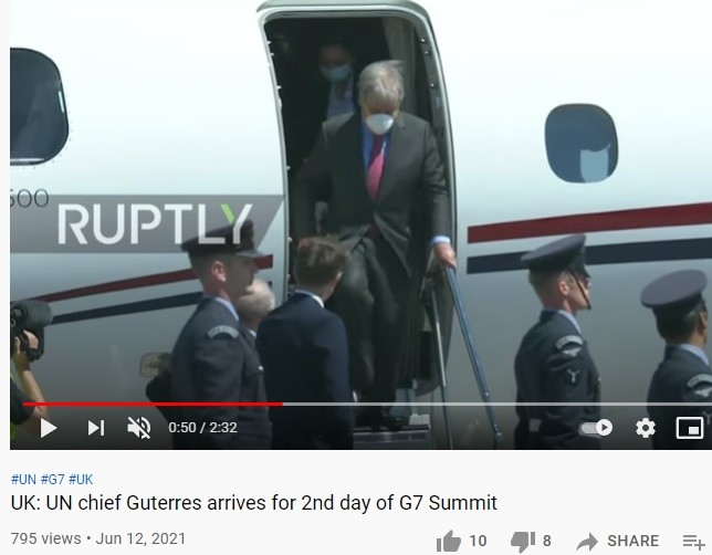 Guterres exiting the $20 million private jet, to attend the G7 meeting.