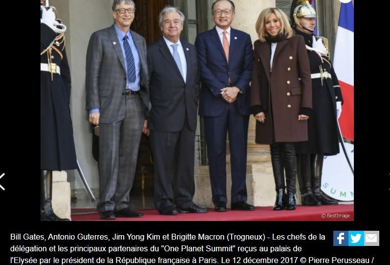 Interesting collage: Non-physician, non-scientist Gates, Guterres, World Bank head, & Brigette ''Zira'' Macron at One Planet Summit in 2017.