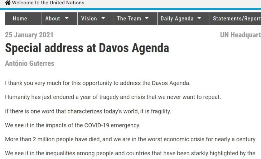 """Guterres address at """"Davos Agenda"""" where elite dictate how we are to live."""