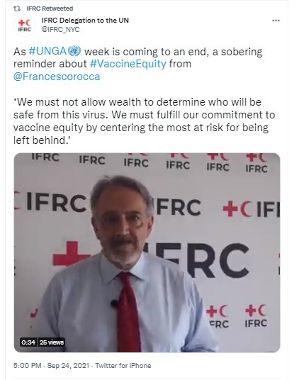 IFRC following Guterres & other NATO dicta on who gets what. IFRC showed its corruption when it pimped a Brit terrorist in Syria, March 2020.