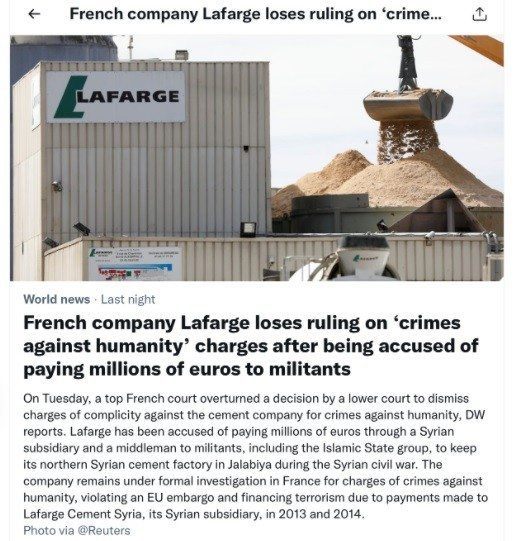 It is unlikely that the Goebbels gang in the UNSCR will mention Lafarge will be mentioned at the next meeting.