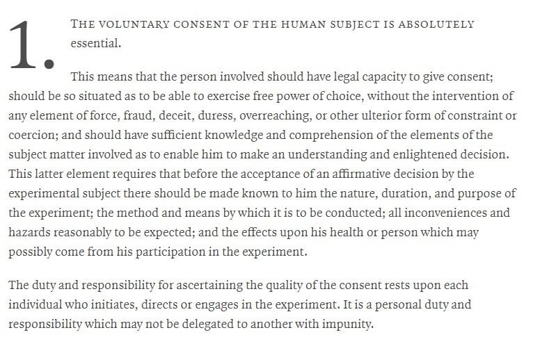 The Nuremberg Code is ignored by de Blasio et al.