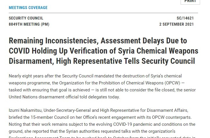 UNSC synopsis on chemical liars meeting.