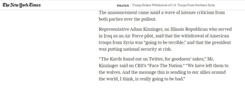 Kizinger supports the armed insurrectionist SDF Kurds, too.
