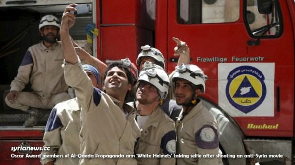 Oscar Award White Helmets Al Qaeda propaganda arm taking selfie after shooting false flag movie