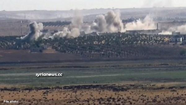 Turkish army and Erdogan terrorists attack Aleppo countryside