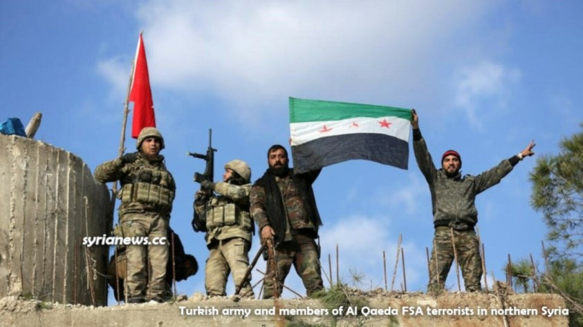Turkish army soldier and members of Al Qaeda FSA terrorists in northern Syria