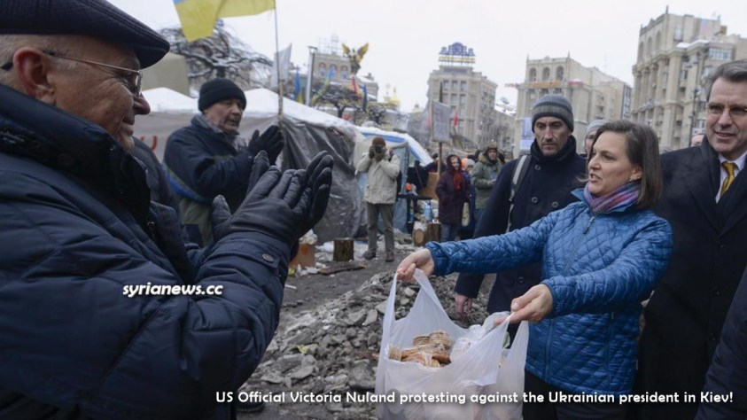 US official Victoria Nuland protesting against the Ukrainian democratically elected president in Kiev