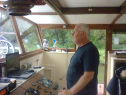 David, the skipper of the hotel barge.