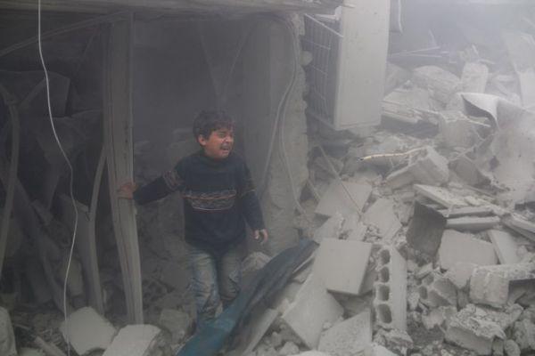 Enfant dans les bombardements de la Ghouta