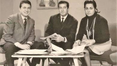 المخرجة غادة مردم بك وشكيب غنام في استديو التلفزيون السوري